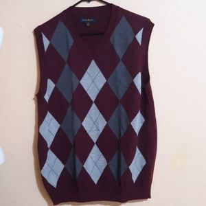 Maroon & Gray Mens Sweater Vest M
